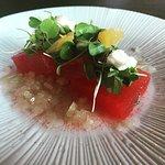 The foie gras on the tasting menu, smoked watermelon salad, off menu patatas bravas, and pork be