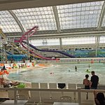 Indoor water park with lots of slides