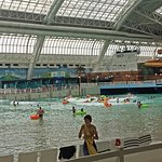 Zip line over the wave pool indoors
