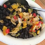 Black beans with onion and peppers