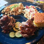BBQ pork plate with dirty rice and slaw, cornbread