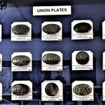 Large collection of Union belt buckles.
