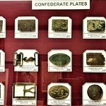 Large collection of Confederate belt buckles.