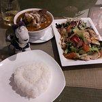Massaman Curry, Pad Khing Gai, Dog and Heart shaped rice.