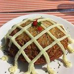 Rosti potato with carne seca, sour cream and catupiry.