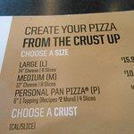 Menu, A Personal Pan Pizza at the Pizza Hut, 89 College Road, Fairbanks, Alaska