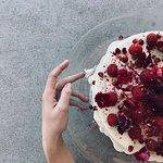 pajamas & jam cake with berries and edible flowers