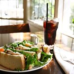 White bread sandwich & iced coffee
