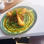 Curried Baby Calamari - Baba ghanoush, avo pulp, soy syrup, sesame seeds