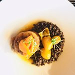 slow roasted lamb shoulder, puy lentils, peach mebos, late harvest pearl onions