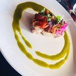pork terrine, tomato and raisin relish, red onion, marinated capsicum, parsley vinaigrette