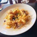 fried squid, corn and chilli salsa, chorizo oil, parsnip puree, preserved lemon aioli