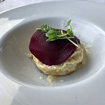 Twice cooked Jannei goat's cheese & green peppercorn souffle with beetroot and walnuts