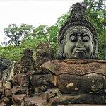 demon status at the South Gate of Angkor Thom city