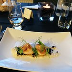 Perfectly cooked scallops and black pudding