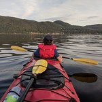 Heading to the opposite shore in a 2 person kayak