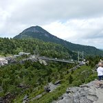View of Grandfather Mountain and the swinging bridge from the top viewing area