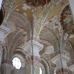 Inside St Peter's Church - the columns and the frescoes