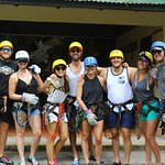 The group ready for the first activity of the day-zip lining