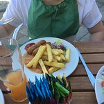 Kids Menu Sausages Beans and Chips