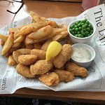 Scampi, chips and peas