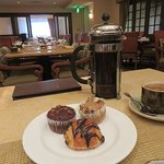 pastries and french press coffee