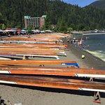 Sasquatch Days - 17 June - canoes and crew quarters on beach.