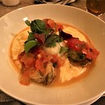 COUNTRY SHRIMP & GRITS (shrimp a la plancha, creamy white grits, cheddar cheese, truffle oil
