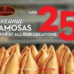 Buy our delicious samosas for only NPR 25 per piece on takeaways from any of our locations.