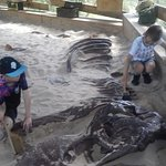 A couple of the children (both aged 10) digging for dinosaur bones.