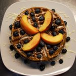 Cinnamon Roll Waffles - June - With Local Peaches & Blueberries