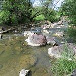 Where waterfall flows into creek