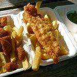 Fish, chips and mushy peas