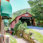 The restaurant is next to the covered bridge. Great stopover.