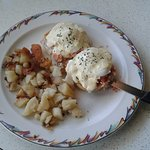 a rather bare-looking plate: Smoked Salmon Benny