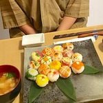 guest made beautiful temari sushi