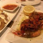 Patatas bravas + grilled shrimp