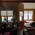 Kitching/living/dining room leading onto private deck.