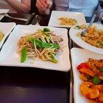 Mixed veg (C)m, Pak Choi(L), King Prawn rice (UR), King Prawn Szechuan (LR)