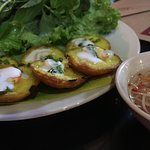 Vietnamese fried prawn cakes. Wrap these up in the fresh green lettuce and dip it into the sauce