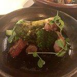 Large Plate: Bebek Siobak - roast duck breast, eggplant sambal, broccoli, star anise
