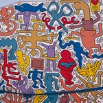 """Pisa, Piazzetta Haring. Detail of the famous murals """"Tuttomondo"""" made by Keith Haring. Граффити."""