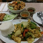 Pho Pasteur, ChinaTown, Boston. Washington St. # 42 Chicken Curry & # 3 Fried Spring Roll.& Tofu