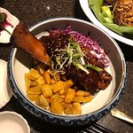 Braised whole short rib with red cabbage and sweet potatoes