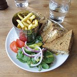 "Our lunch of cheddar and chutney on granary bread, salad, and ""skinny"" fries"
