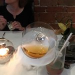 Dessert pairing, cognac infused with pear, cooled by dry ice !!