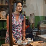 Life sized statue of woman in the kitchen