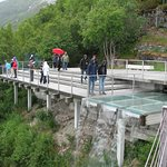 The viewing platform for the Eastern fjord, complete with waterfall
