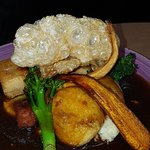 Pork Belly Roast Dinner with the most amazing crackling on top
