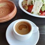 Greek coffee and Greek salad at Paul's Tavern, Parthenon